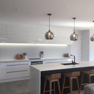 Kitchen island pendants and LED strip