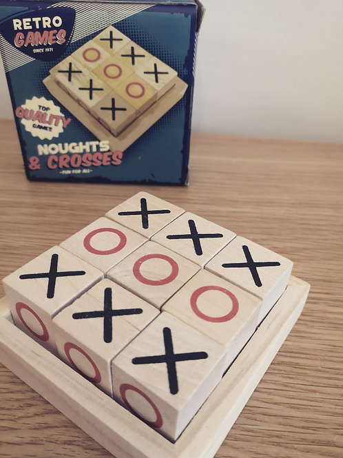 Wooden Noughts & Crosses Game