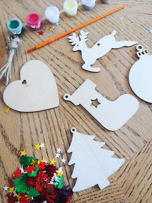 Paint your own Christmas Decorations - Christmas Tree Set