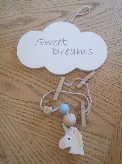Sweet Dreams Peg Hanging with Unicorn