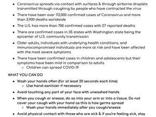 Coronavirus Info Sheet 2