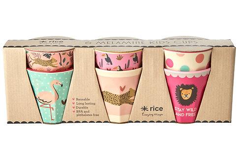סט 6 כוסות טוטון מיני בהדפס ג'ונגל ורוד RICE