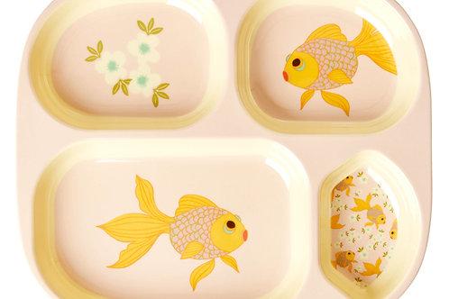 צלחת מלמין מחולקת דג זהב RICE