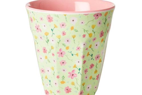 כוס מלמין טוטון בהדפס פרחי איסטר רקע ירוקRICE