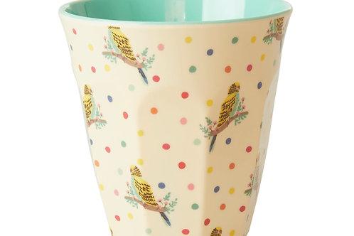 כוס מלמין טוטון בהדפס תוכים ונקודות RICE