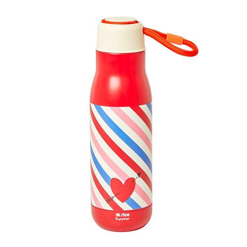 בקבוק שתיה ממתכת פסים כחול אדום RICE