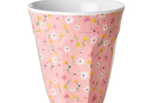 כוס מלמין טוטון בהדפס פרחי איסטר רקע ורוד RICE
