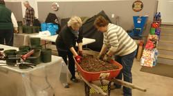 Mixing Soil in Wheelbarrow
