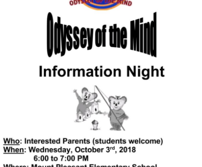 Odyssey of the Mind information night, Oct. 3