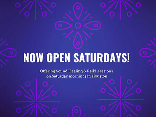Enjoy Sound Healing & Reiki Sessions on Saturday mornings in Houston!