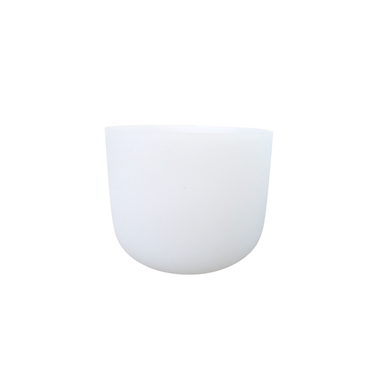 "9"" White Frosted 432 Hz Crystal Singing Bowl"