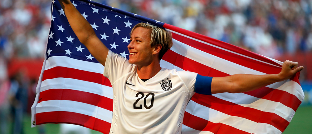 Picture of Abby Wambach with American flag