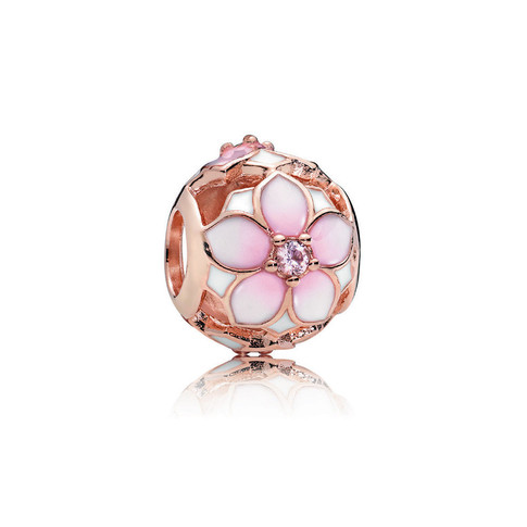 Magnolia Bloom Charm, PANDORA Rose™, Blush Pink Crystal and Mixed Enamel