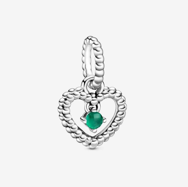Rainforest Green Beaded Heart Dangle Charm
