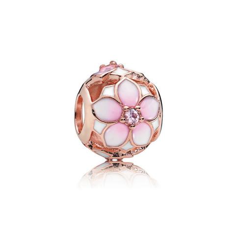 Magnolia Bloom Charm, PANDORA Rose™, Blush Pink Crystal and Mixed Enamel