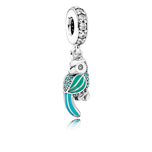 Tropical Parrot, Mixed Enamels, Teal & Clear CZ