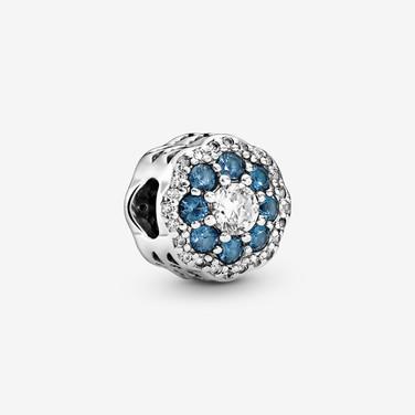 Blue Sparkle Flower Charm