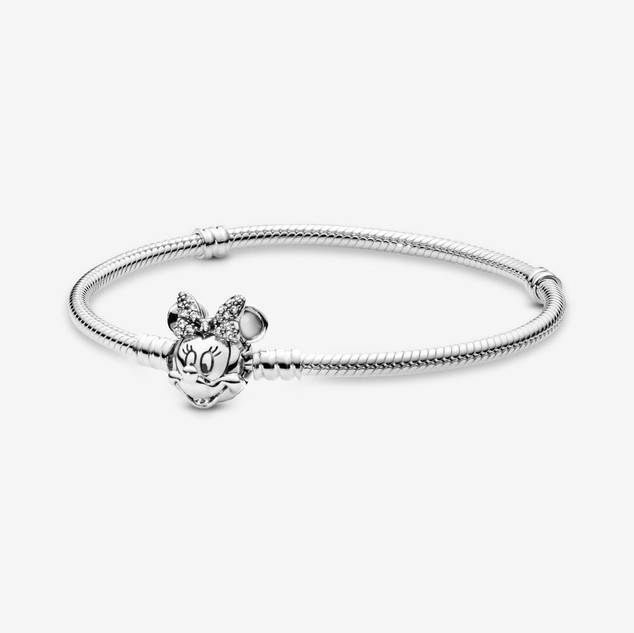Disney Pandora Moments Pavé Minnie Mouse Clasp Snake Chain Bracelet