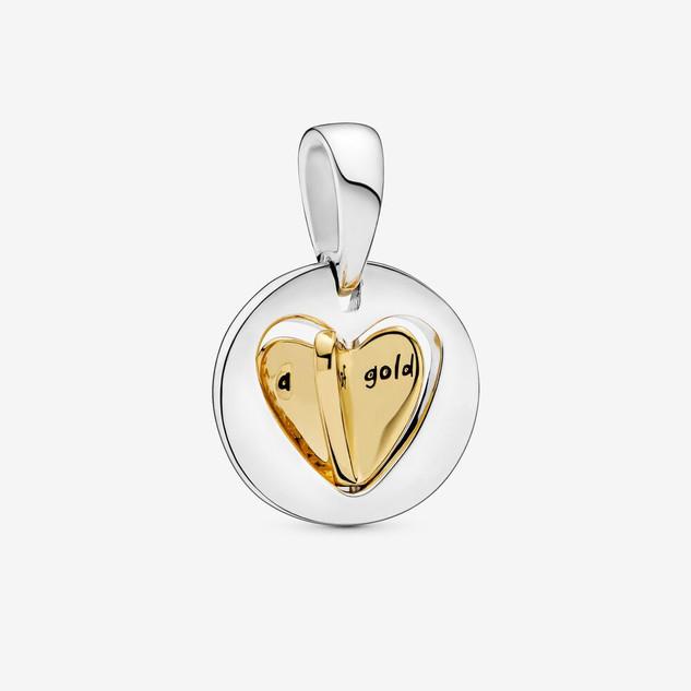 Mom's Golden Heart Dangle Charm