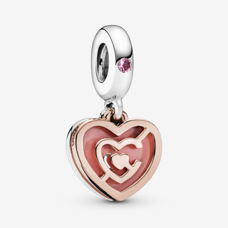 Pink Heart Labyrinth Dangle Charm
