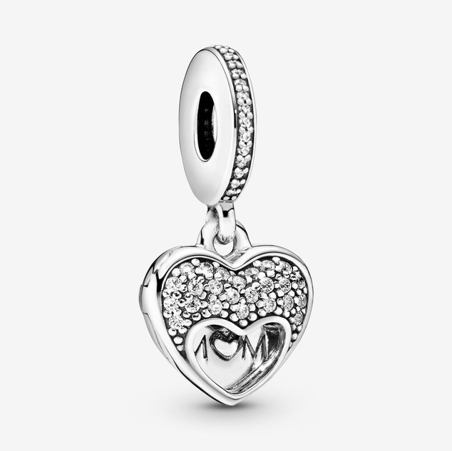 I Love My Mom Heart Dangle Charm