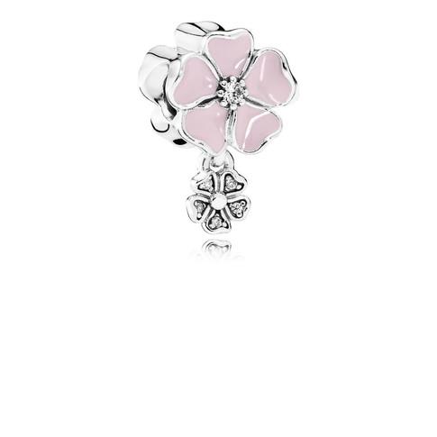 Poetic Blooms, Soft Pink Enamel & Clear CZ