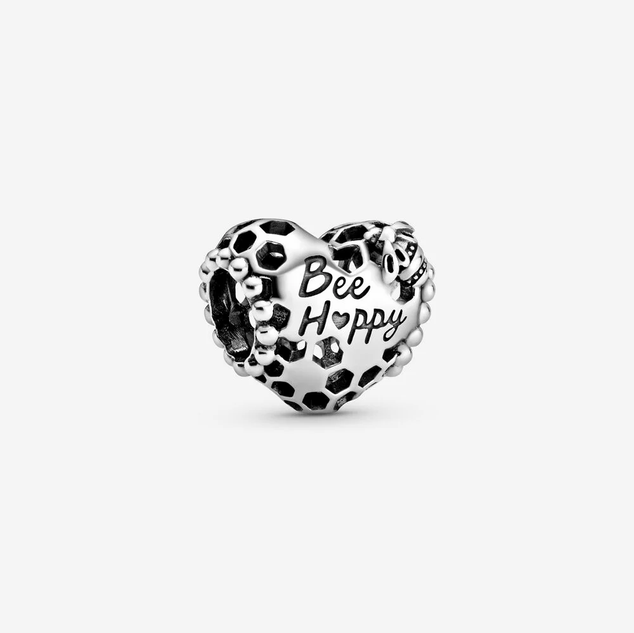 Bee Happy Honeycomb Heart Charm
