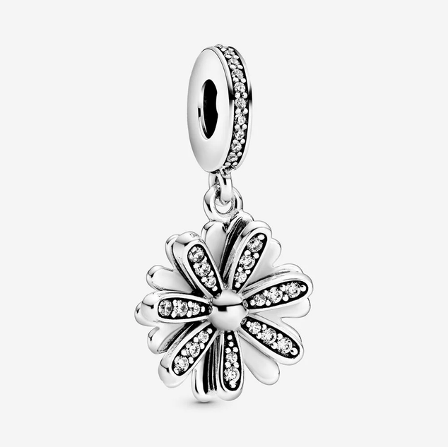 Sparkling Daisy Flower Dangle Charm