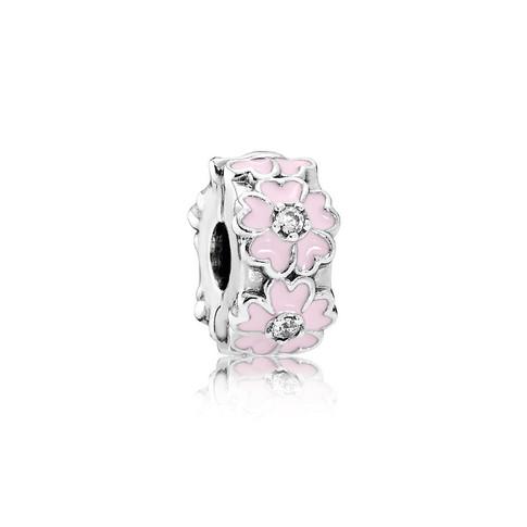 Pink Primrose Clip, Light Pink Enamel & Clear CZ