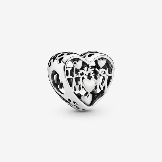 I Love You Mom Heart Charm