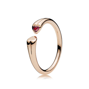 Two Hearts Ring, PANDORA Rose™ & Red CZ