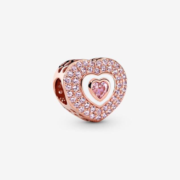 Pink Pavé Heart Charm