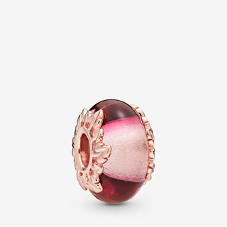 Pink Murano Glass & Leaves Charm