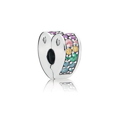 Multi-Coloured Arc of Love Clip, Multi-coloured CZ & Crystals