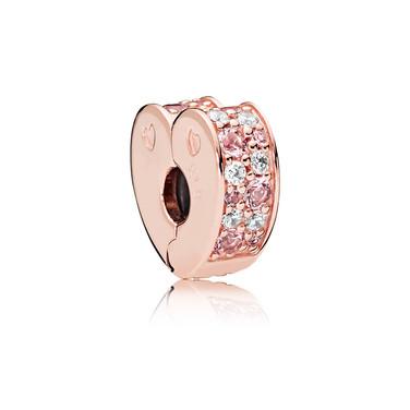 Arcs of Love Clip, PANDORA Rose™, Light Pink & Rose Pink Crystals & Clear CZ