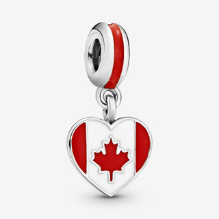 Canadian Flag Heart Dangle Charm