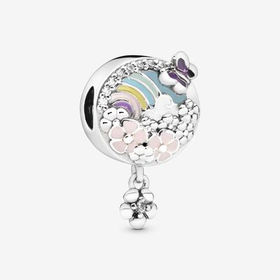 Rainbow & Flower Dangle Charm