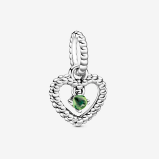 Spring Green Beaded Heart Dangle Charm