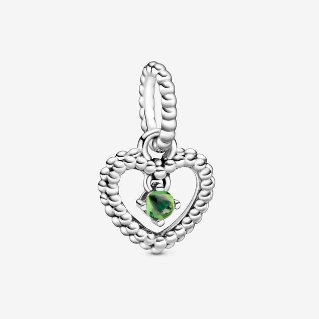 Spring Green Beaded Heart Dangle Charm