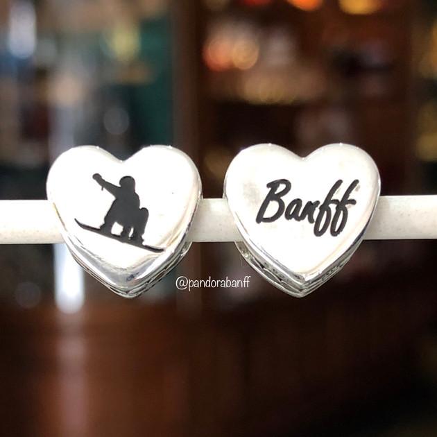 Banff Snowboarder Heart Charm