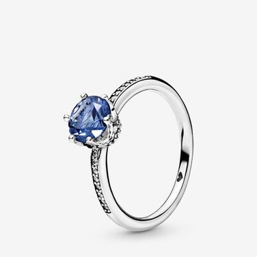 Blue Sparkling Crown Solitaire Ring
