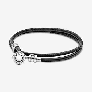 Black Double Leather Bracelet, Clear CZ