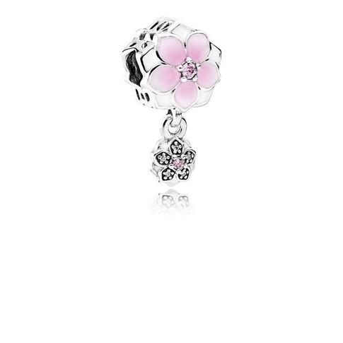 Magnolia Bloom, Pale Cerise Enamel, Pink & Clear CZ