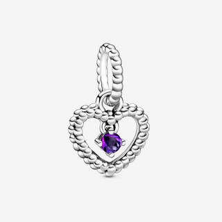 Purple Beaded Heart Dangle Charm