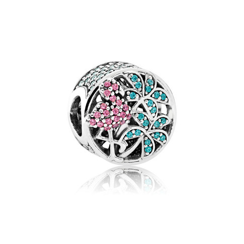 Tropical Flamingo, Light Green Crystals & Multi-Colored CZ