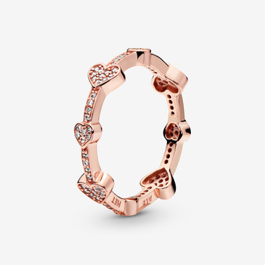 Pavé Hearts Band Ring