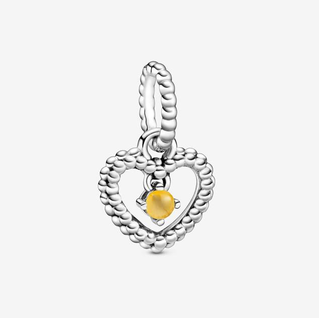 Honey Beaded Heart Dangle Charm