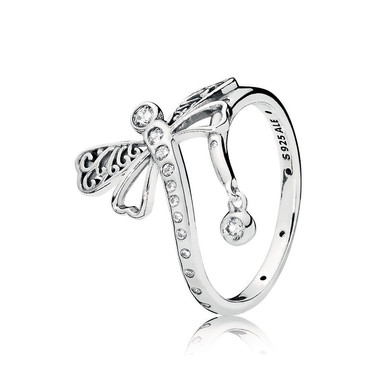 Dreamy Dragonfly Ring, Clear CZ