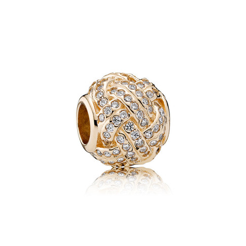 Sparkling Love Knot, 14K Gold & Clear CZ