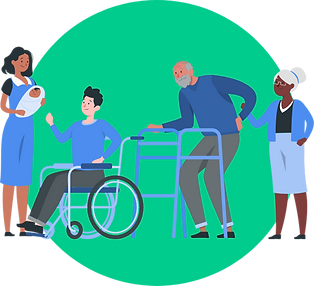 illustration-of-woman-with-baby-young-man-in-wheelchair-old-man-with-walker-old-woman-helping-himng
